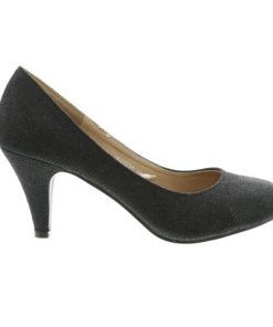Zwarte glitter pump 7,5 cm